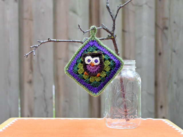 crocheted owl granny square pattern from repeat crafter me blog used to make a renewable scent sachet