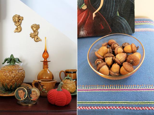crocheted pumpkin and bowl of acorns