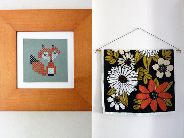 cross stitched fox and vintage tea towel autumn decor