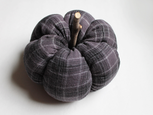 finished handmade pumpkin using old pajamas flannel reuse