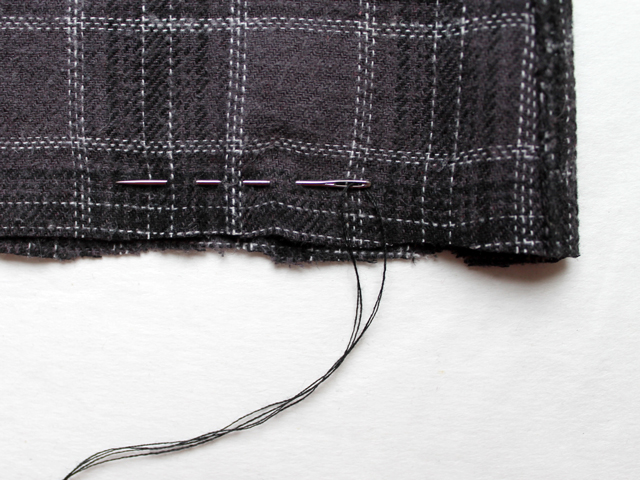 hand stitching bottom running stitch