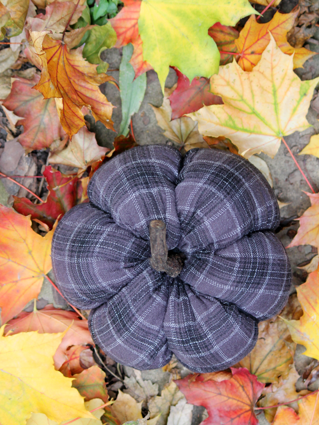 handmade pumpkin made with recycled flannel pajamas how to diy