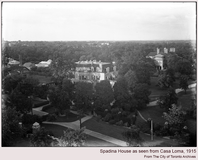 historic photograph of spadina house taken from turet at casa loma 1916