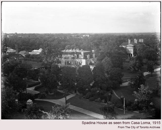 historic photograph of spadina house taken from turet at casa loma 1916