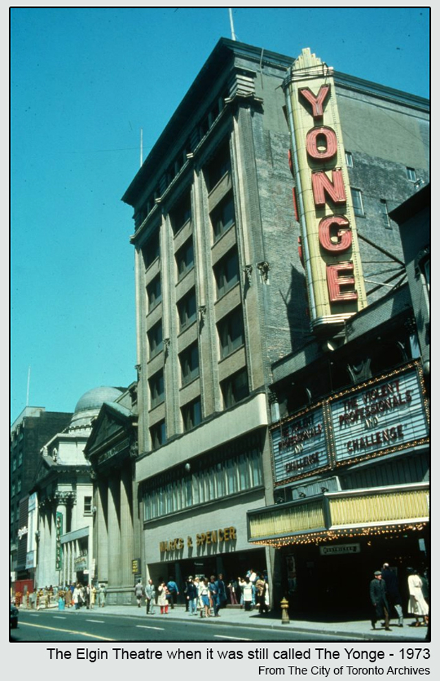 historic photograph toronto elgin theatre yonge street 1973