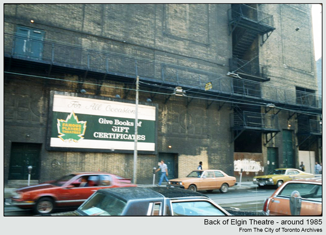 historic photograph toronto elgin theatre yonge street back victoria street around 1985