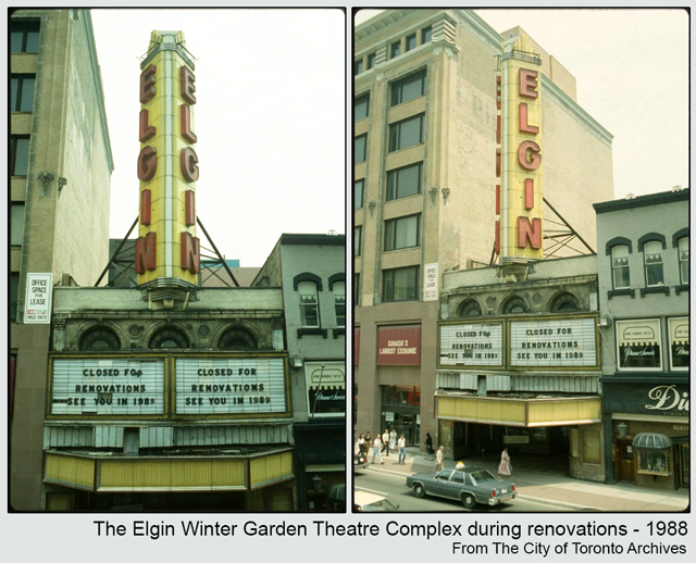 historic photograph toronto elgin theatre yonge street during renovations 1988