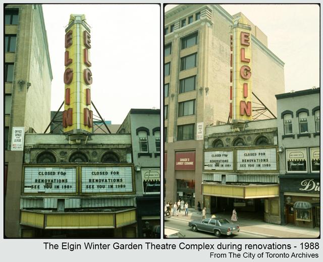 historic photograph toronto elgin theatre yonge street during renovations 1988