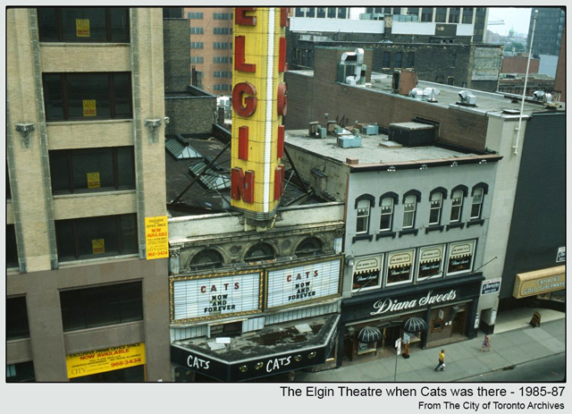 historic photograph toronto elgin theatre yonge street when cats was on 1985 87