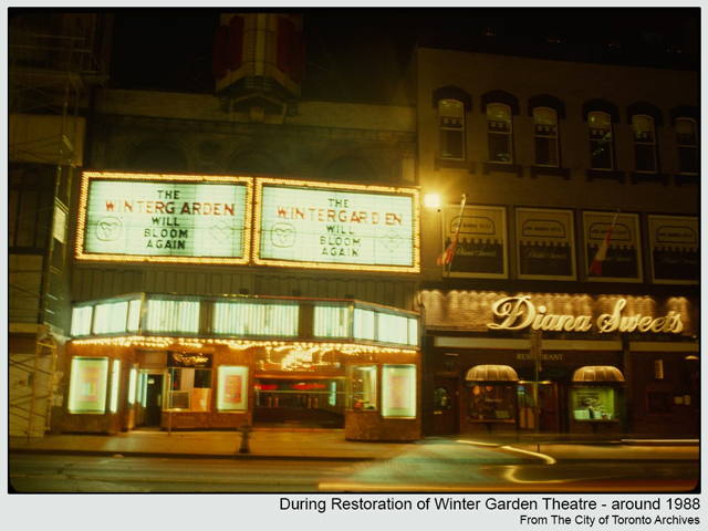 historic photograph toronto winter gardrn theatre yonge street during renovations 1988
