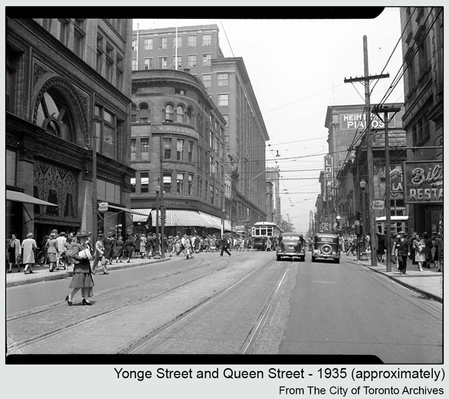 historic photograph toronto yonge and queen around 1935