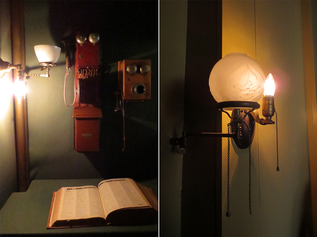 phone booth and gas electric lamp