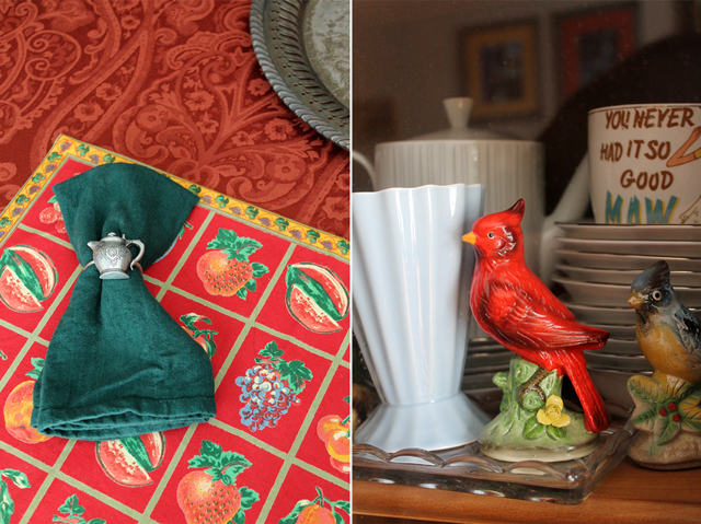ralph lauren home tabl cloth from homesense with vintage or thrifted pieces