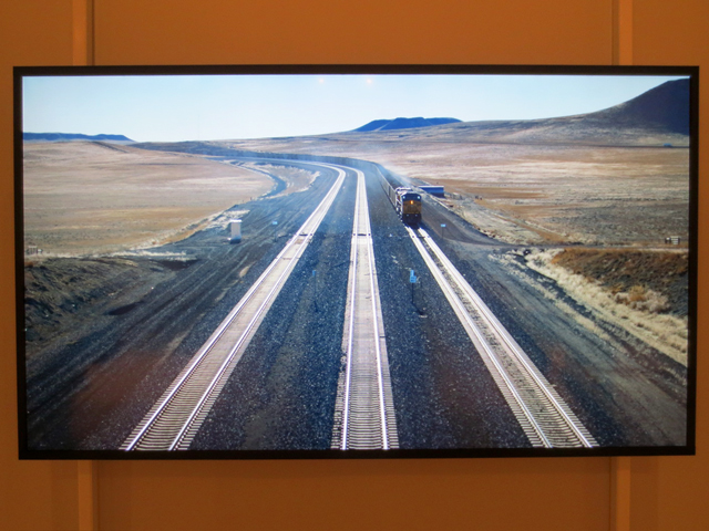 still from a film by Jennifer Baichwal Nicholas de Pencier Coal trains wyoming usa at ago anthropocene exhibit toronto