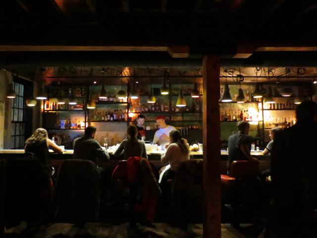 bar area on main floor la carnita restaurant inside historic building john street toronto