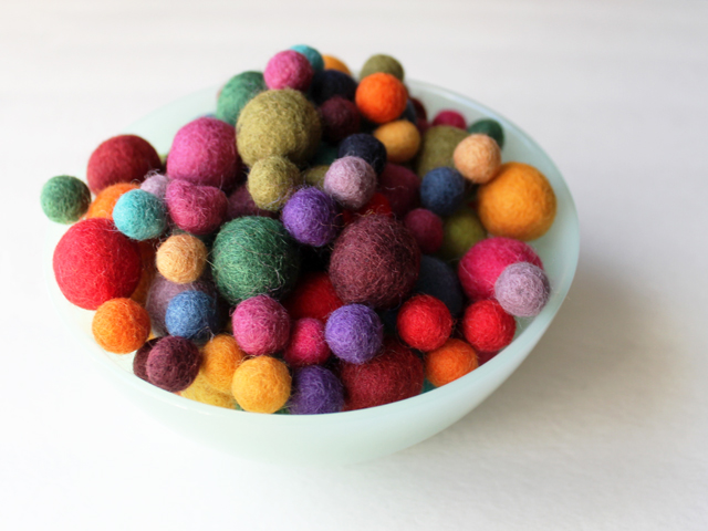 bowl of felted wook balls