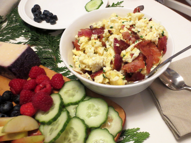 brunch with anthony bourdains scrambled eggs with bacon chives and sour cream