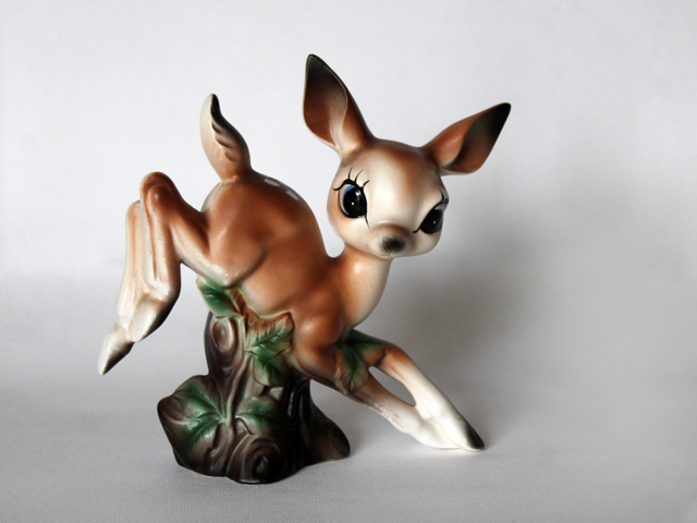ceramic fawn deer found at thrift store