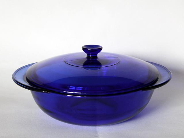 cobalt blue anchor hocking casserole dish from thrift store