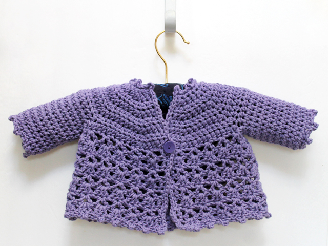 fc814315e A Crocheted Baby Girl Cardigan Sweater