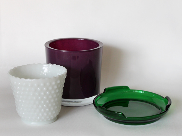 glass plant pots and underplate found at thrift store milkglass hobnail polish glass and vintage green glass