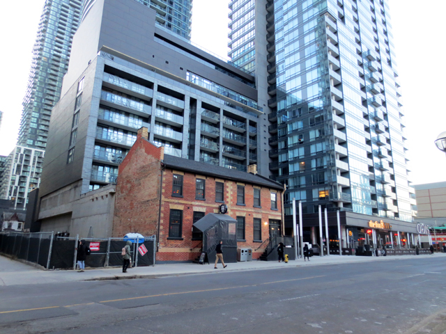 historic building toronto john street amoungst new condo towers