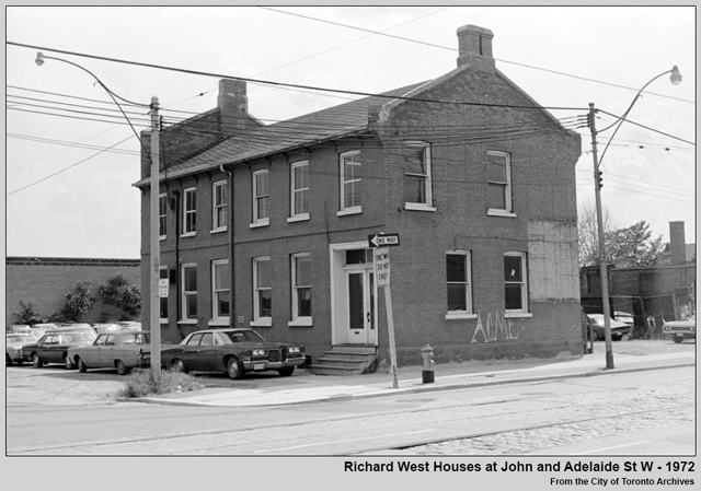 historic photograph of richard west house john street and adelaide st west toronto built in 1869 shown in 1972