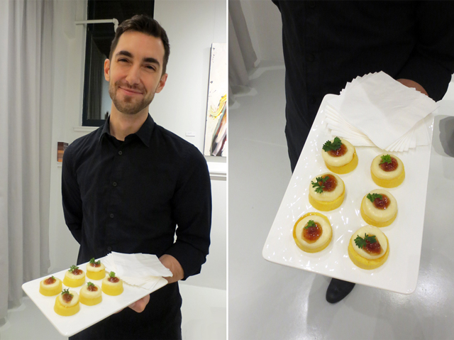 hors doeuvre food by dessert lady yorkville toronto at art gallery opening