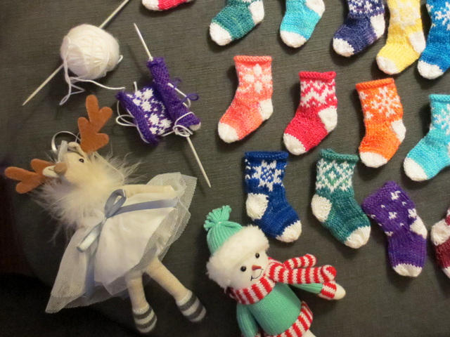 knitting and ornaments