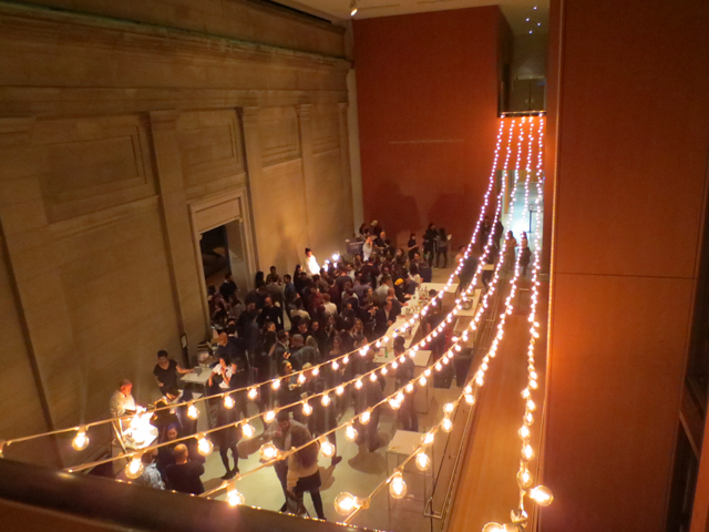 looking down to food area first thursdays ago toronto art gallery