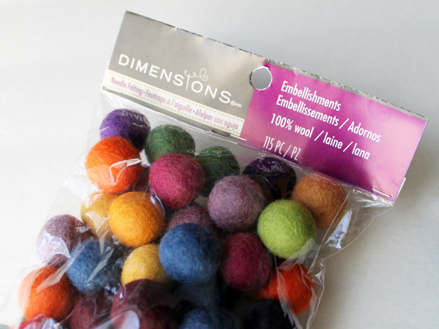 needle felting embelishments pure wool found at michaels toronto