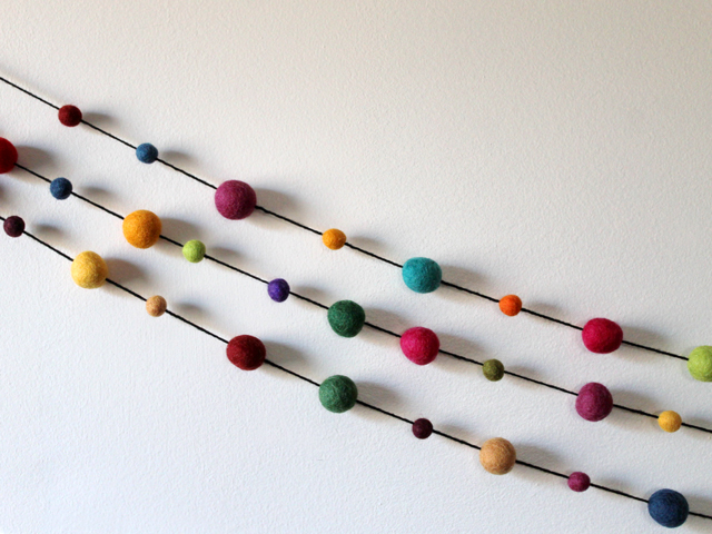 pure wool felted balls from michaels strung as a garland easy how to handmade