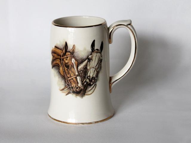 sadler england ceramic beer stein horse image
