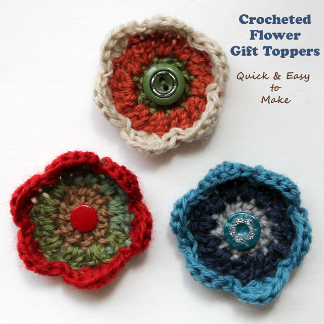 crocheted flower gift toppers quick and easy to make free pattern
