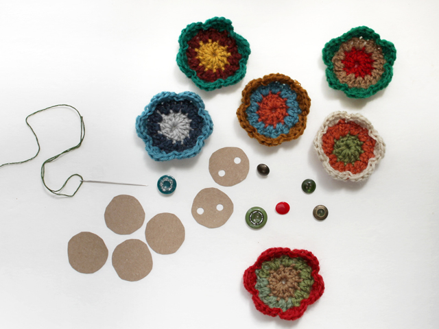 finishing crocheted three row flowers to turn them into gift toppers decorations