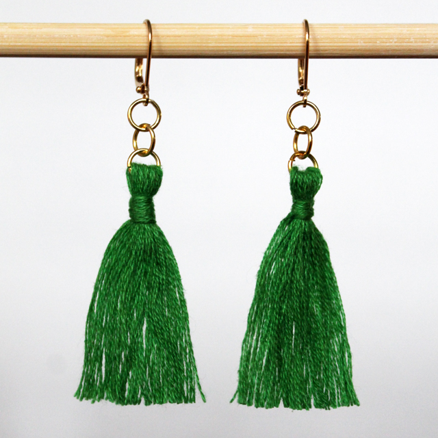 handmade earring tassels using embroidery thread
