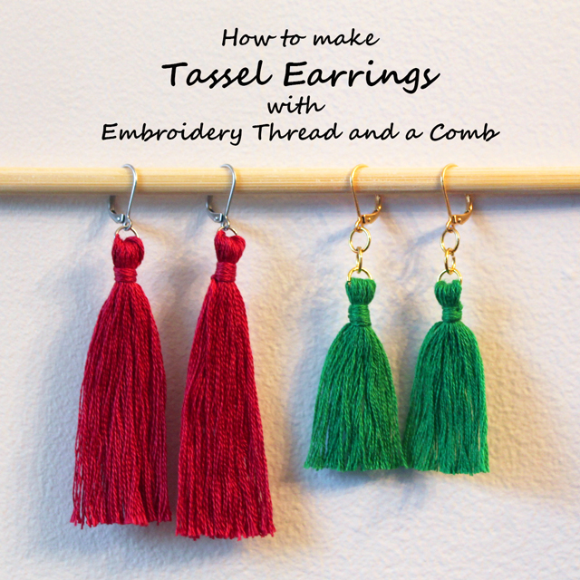 how to make tassel earring with embroidery thread and a comb