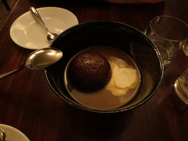 sticky pudding with creme fraiche at beast restuarant toronto