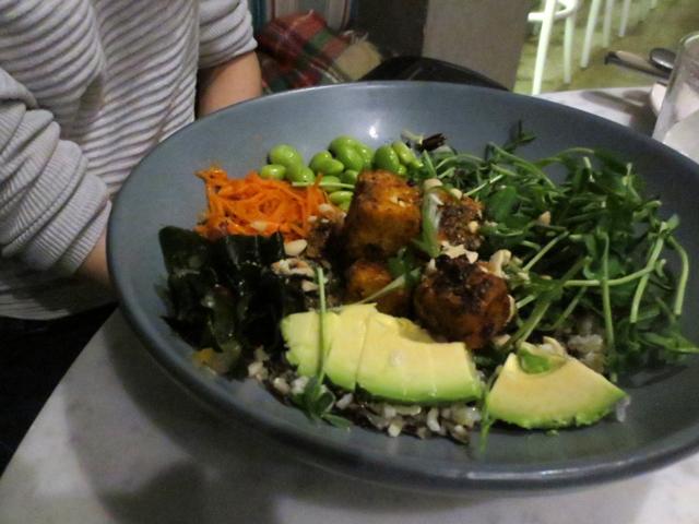crispy tofu and rice bowl at rosalinda restaurant toronto vegan food