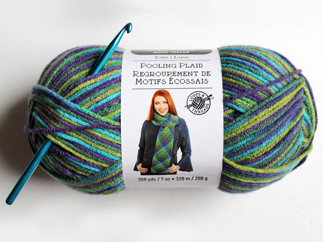 skein of loops and threads pooling plaid yarn peacock parade colourway how to use it crochet