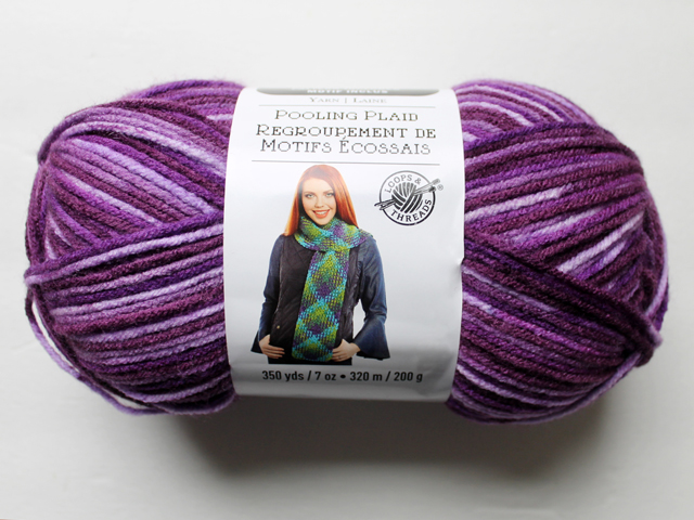 skein of loops and threads pooling plaid yarn purple plush colourway how to use it crochet