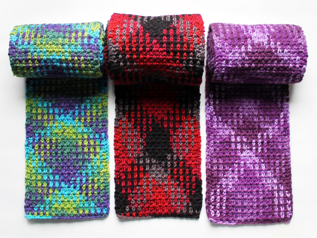 three examples of loops and threads pooling plaid yarn worked crochet instructions in post