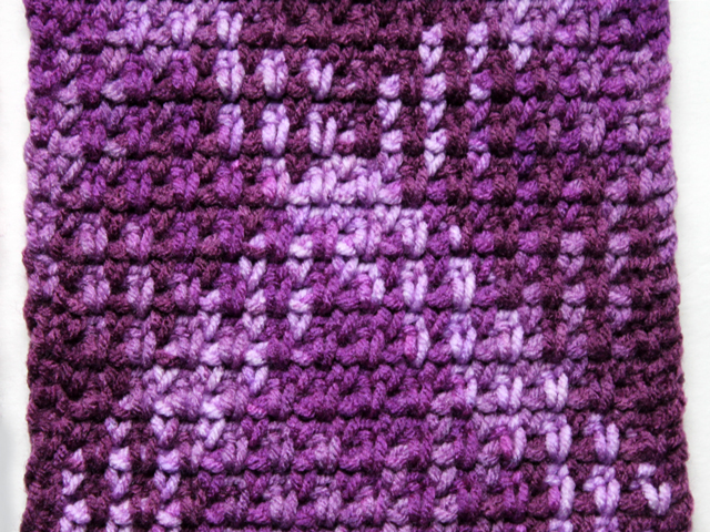 working with loops and threads pooling plaid yarn crochet purple plush colourway how to use it