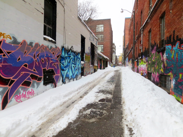 alley way in toronto after a snow storm