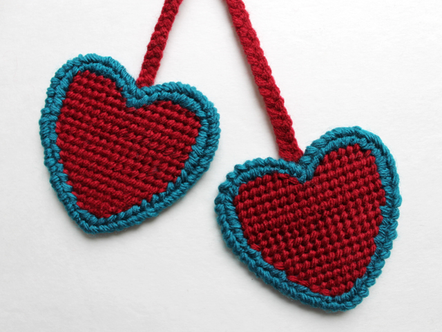 heart shaped plastic canvas needlepoint completed