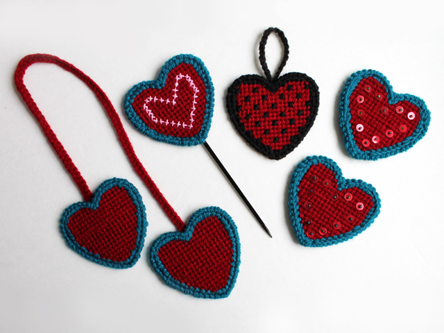 loops and threads heart shaped plastic canvas needle point how to do them