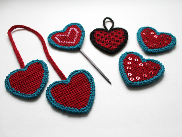 loops and threads plastic canvas hearts from michaels for needle point how to do them