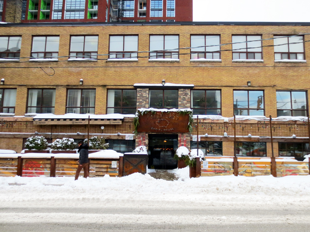 on portland street in toronto after a major snow storm