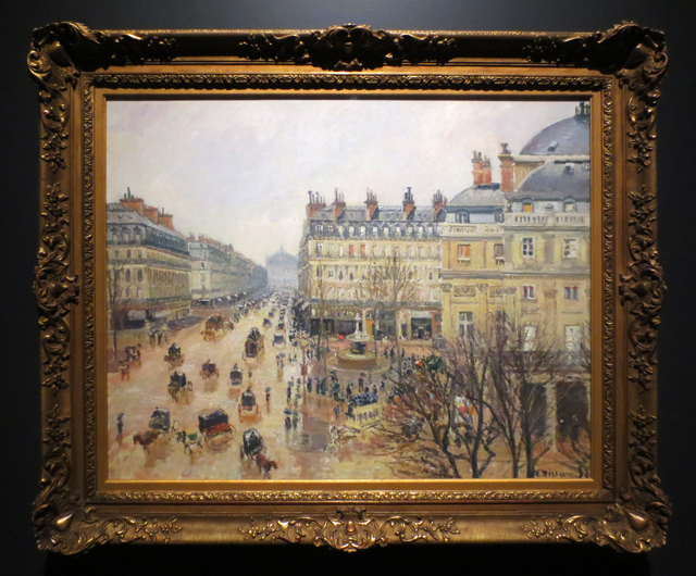 place du theatre francais paris rain by camille pissarro 1898 on display at ago impressionism in the age of industry exhibition