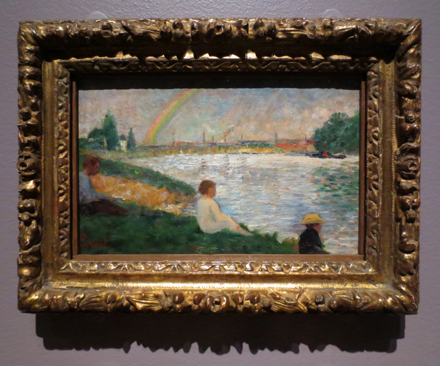 small painting the rainbow study for bathers at asnieres by georges seurat on display at ago toronto art gallery impressionism in the age of industry exhibition